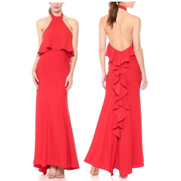 4069dcbc10b Xscape Dresses | Popover Ruffleback Halter Gown | Poshmark